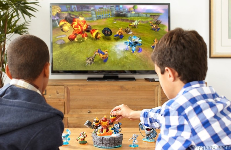 Two generic kids playing Skylanders