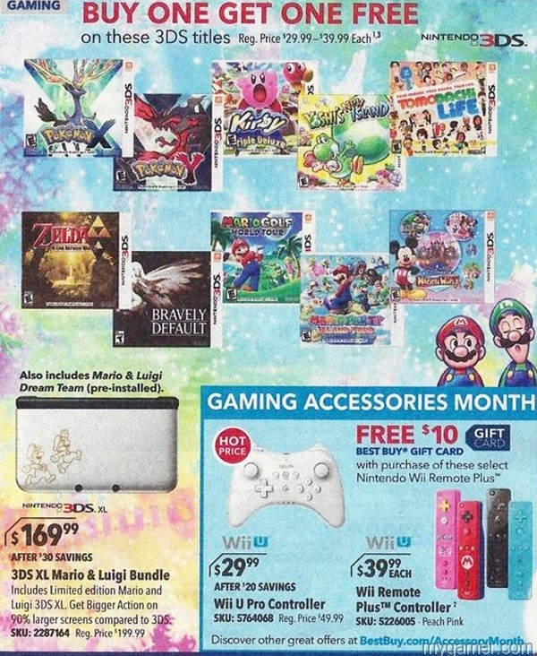 Leaked Best Buy Ad Reveals B1G1 Free 3DS Games Next Week + Discounted Wii U Controllers Leaked Best Buy Ad Reveals B1G1 Free 3DS Games Next Week + Discounted Wii U Controllers BestBuy B1G1 3DS