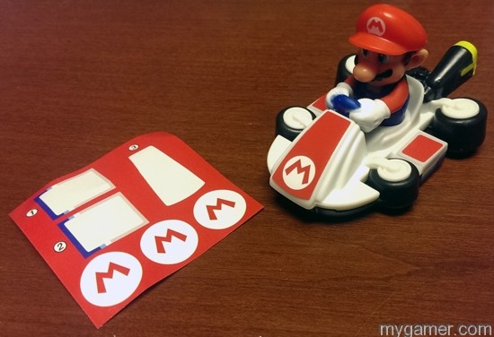 Each toy comes with a couple extra stickers Mario Kart 8 Happy Meal Toys Mario Kart 8 Happy Meal Toys Mario Kart 8 Happy Meal Mario StickerOn