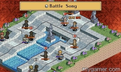 The repeating static red background is bland Mercenaries Saga 2: Order of the Silver Eagle 3DS eShop Review Mercenaries Saga 2: Order of the Silver Eagle 3DS eShop Review Mercenaries Saga 2 battle song