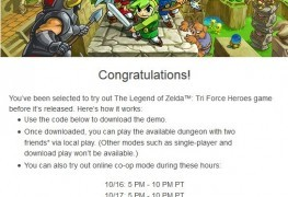 Nintendo Sending Out Demo Codes for Zelda Triforce Heroes to Special People Nintendo Sending Out Demo Codes for Zelda Triforce Heroes to Special People Zelda TriForce Heros Demo Code Pic 263x180
