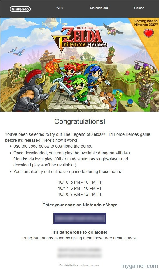 Nintendo Sending Out Demo Codes for Zelda Triforce Heroes to Special People Nintendo Sending Out Demo Codes for Zelda Triforce Heroes to Special People Zelda TriForce Heros Demo Code Pic
