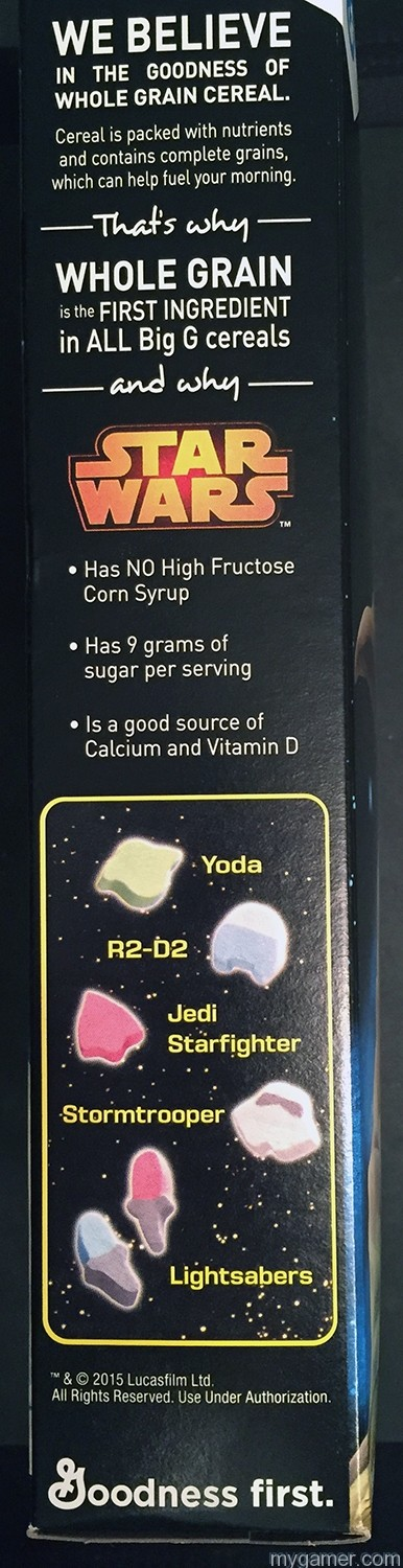 Each marshmallow is basically a nonsensical blob Gamer's Gullet: Star Wars Cereal Review Gamer's Gullet: Star Wars Cereal Review Star Wars Cereal BoxSide
