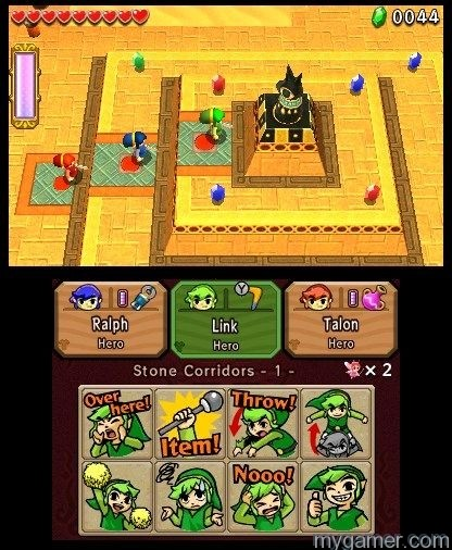 Throw Links in order to reach higher ledges Legend of Zelda: Tri Force Heroes 3DS Review Legend of Zelda: Tri Force Heroes 3DS Review LoZ Tri Force pyramid