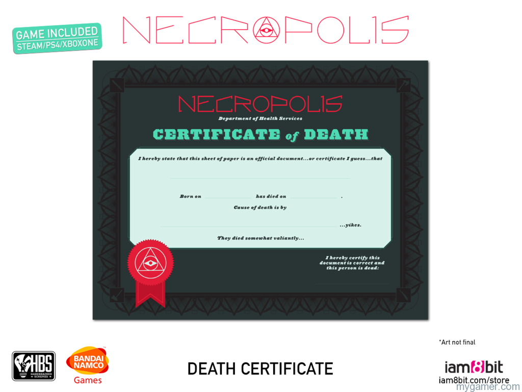 NECROPOLIS-CE-DeathCertificate_1024x1024 Here Are the NECROPOLIS Collector's Edition Details Here Are the NECROPOLIS Collector's Edition Details NECROPOLIS CE DeathCertificate 1024x1024