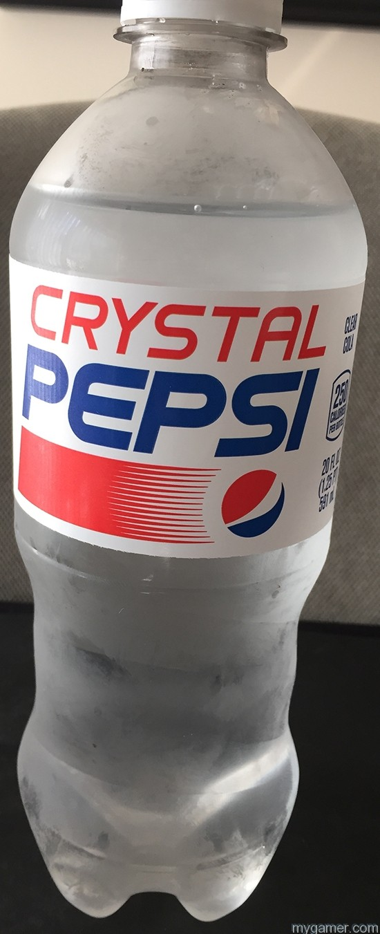 It might look like water or Sprite but it is most definitely not! Gamer's Gullet – Crystal Pepsi 2016 Review Gamer's Gullet – Crystal Pepsi 2016 Review Crystal Pepsi Bottle