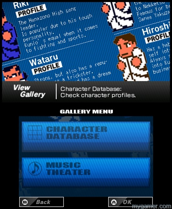 You can learn about each character in the Gallery River City: Tokyo Rumble 3DS eShop River City: Tokyo Rumble 3DS eShop Review River City Tokyo Rumble Gallery