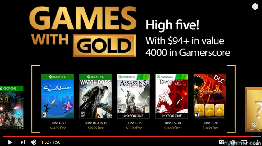 Microsoft's Games With Gold for June Announced, Includes Watch Dogs and Speedrunners